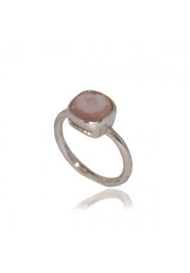 MINI SQUARE PINK QUARTZ RING