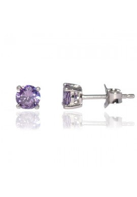 LAVENDER CZ 6mm STUD EARRINGS