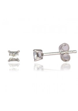 WHITE CZ SQUARE STUD EARRINGS