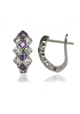 LIBERTY AMETHYST CZ EARRINGS
