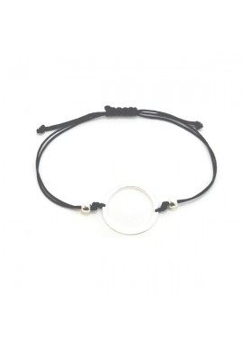 STRING BRACELET WITH SILVER CIRCLE
