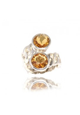 CHAIN RING WITH TWO CITRINE QUARTZ