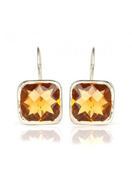 CITRINE QUARTZ SQUARE EARRINGS