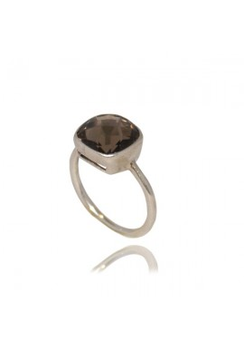 SQUARE SMOKED QUARTZ RING